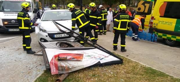 Cádiz.-Sucesos.- Herido el conductor de un vehículo al chocar con una señal de tráfico en Jerez