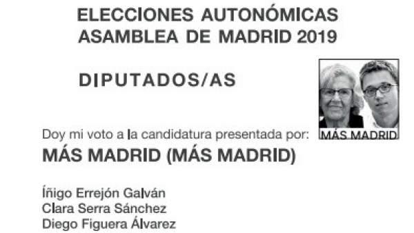 Papeletas de Más Madrid para las elecciones municipales y autonómicas.
