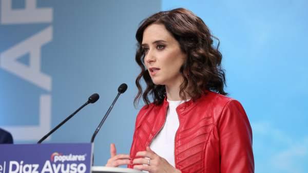 La candidata del PP a la presidencia de la Comunidad de Madrid, Isabel Díaz Ayuso, presenta el manifiesto electoral de cara a las elecciones del 26 de mayo