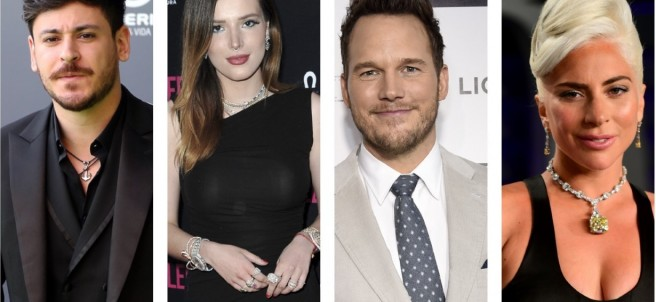 Cepeda, Bella Thorne, Chris Pratt y Lady Gaga