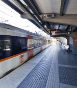 Un tren en la estación de FGC de Sant Cugat
