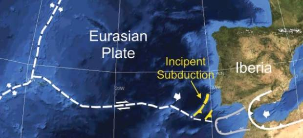 Ruptura de la corteza terrestre en el Atlántico