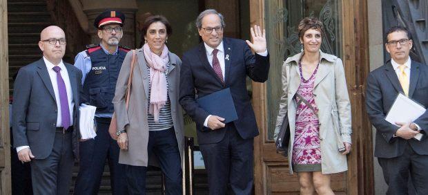 El presidente de la Generalitat, Quim Torra, antes de entrar a declarar al TSJC.