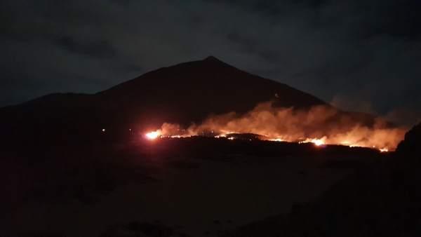 Incendio en el Parque Nacional del Teide