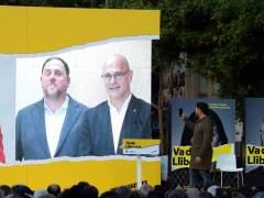 Intervención en un mitin de Girona de Junqueras y Romeva.