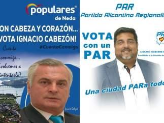 Las campañas electorales del PP de Neda (A Coruña) y el PAR (Alicante)