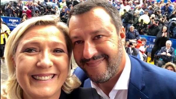 Marine Le Pen y Matteo Salvini