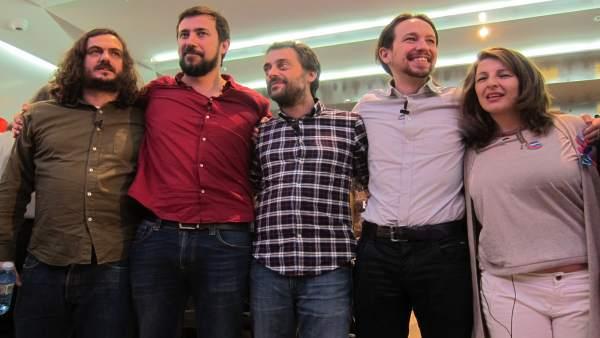 Pablo Iglesias en un mitin con En Marea