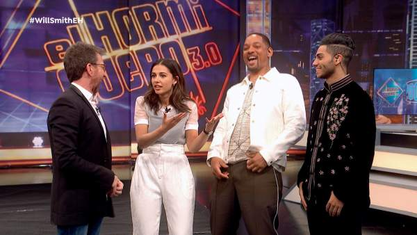 Naomi Scott, Mena Massoud y Will Smith, en 'El hormiguero'.