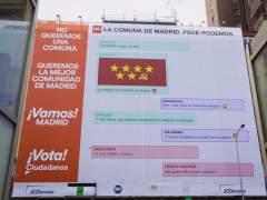 Cartel electoral de Ciudadanos, cerca del intercambiador de Avenida de América (Madrid).