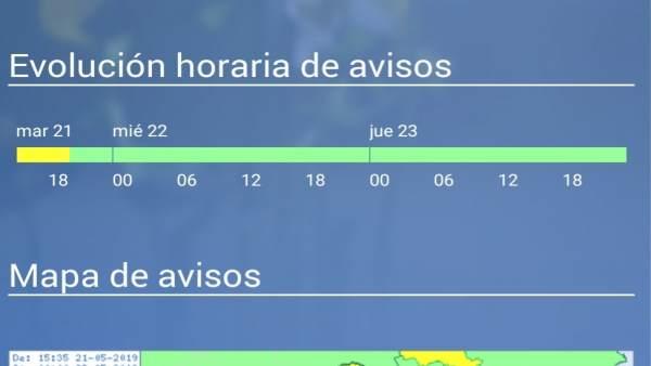Temporal.- Meteorología actualiza y amplía el aviso amarillo por tormentas en la Región