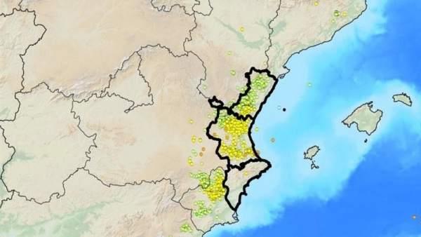 Más de 1.750 descargas de rayos caen el martes en la Comunitat, la mayoría en Castellón