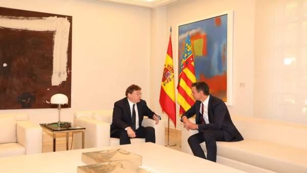 Reunión de Puig y Sánchez en La Moncloa