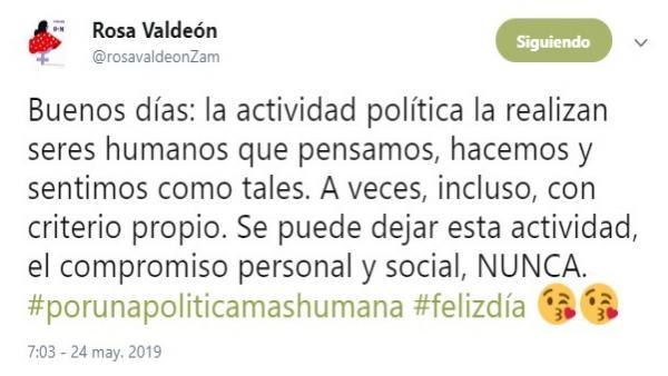 26M.- Valdeón Reivindica La Política Con 'Criterio Propio' Y Aclara Que Nunca Se Deja El Compromiso Personal Y Social