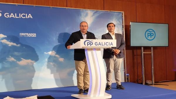 El secretario general del PP de Galicia, Miguel Tellado, en rueda de prensa