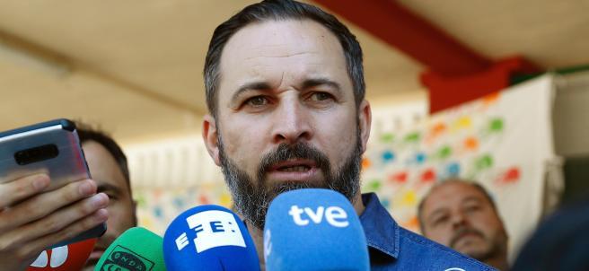 Santiago Abascal, de Vox tras voltar el 26M