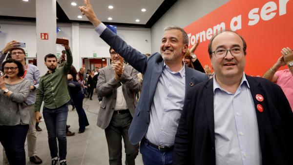 Jaume Collboni y Miquel Iceta en la noche electoral.
