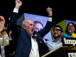 Ernest Maragall celebra la victoria electoral del 26M.