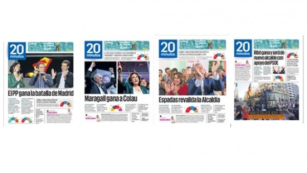Las portadas del periódico 20minutos tras el 26M.