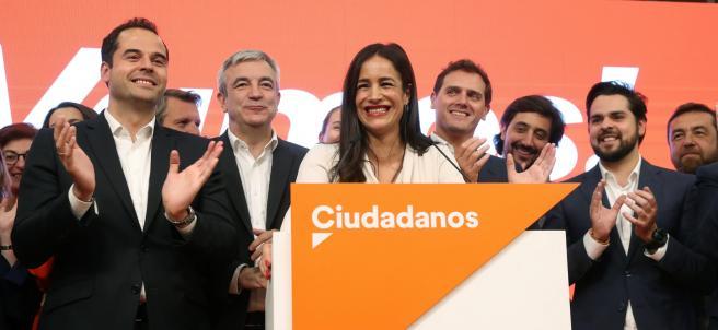 Begoña Villacís durante la noche electoral del 26-M