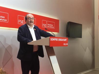 El líder del PSC, Miquel Iceta, este lunes, el día después de las elecciones municipales del 26-M, en la sede del partido en el 22@ de Barcelona.