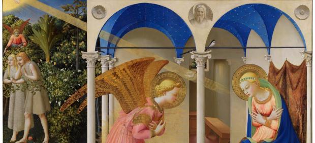 La Anunciación y la expulsión de Adán y Eva del jardín del Edén. Fra Angelico