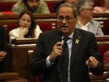 El president de la Generalitat, Quim Torra, interviniendo en la sesión de control del Parlament.
