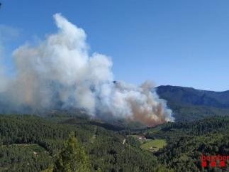 Sucesos.- Un incendio forestal en Pradell (Tarragona) obliga a cortar la R15