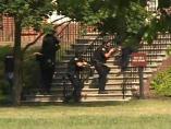 Agentes de Policía durante el tiroteo en Virginia Beach