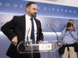 El líder de Vox, Santiago Abascal, atiende a los medios en el Congreso de los Diputados.