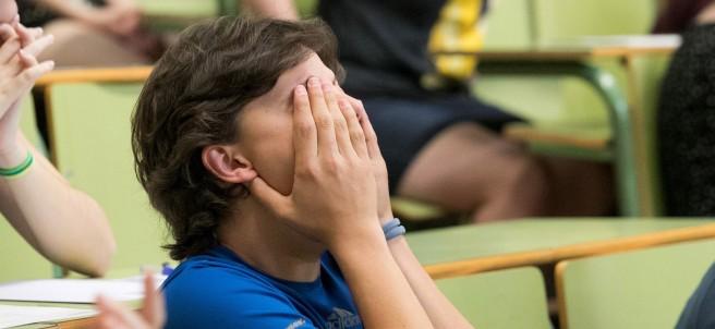Alumno durante el examen de Selectividad
