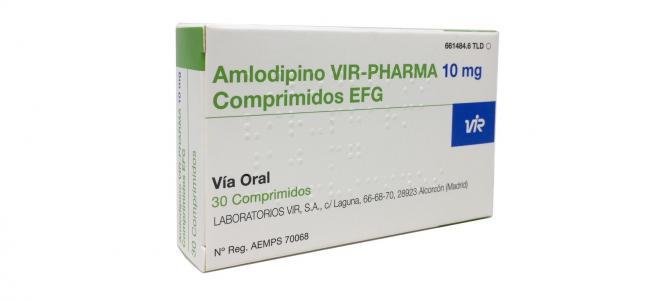 Medicamento para la tensión, Amlodipino Vir 10 mg.