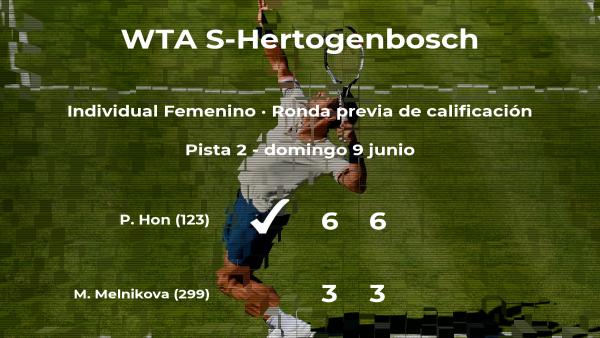 La tenista Priscilla Hon gana en la ronda previa de calificación del torneo WTA International de 's-Hertogenbosch