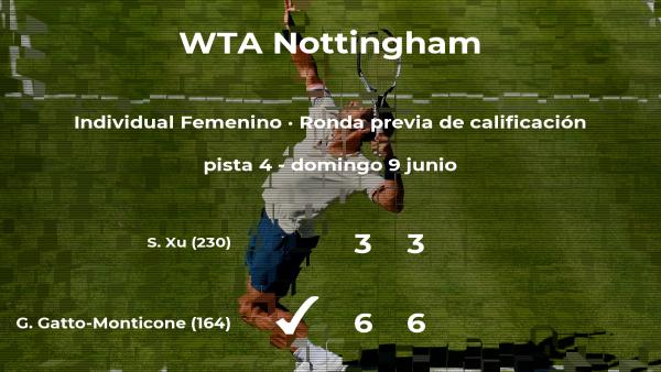 Triunfo para la tenista Giulia Gatto-Monticone en la ronda previa de calificación