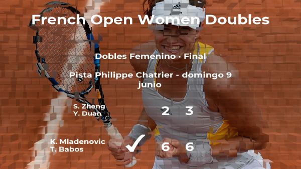 Las tenistas Mladenovic y Babos vencen en la final de Roland-Garros
