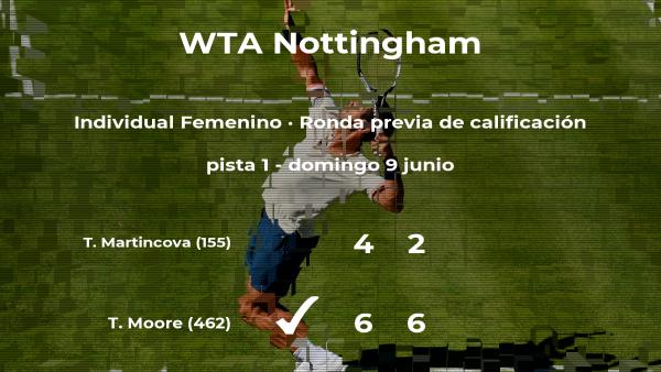 Tara Moore vence en la ronda previa de calificación del torneo WTA International de Nottingham