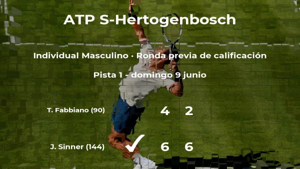 El tenista Jannik Sinner logra ganar en la ronda previa de calificación contra Thomas Fabbiano