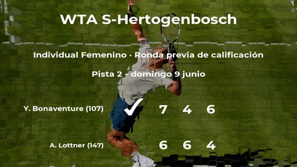 La tenista Ysaline Bonaventure pasa a la siguiente fase del torneo WTA International de 's-Hertogenbosch