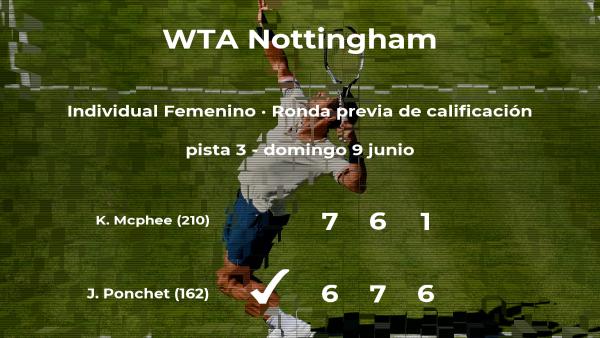 La tenista Jessika Ponchet pasa a la siguiente fase del torneo WTA International de Nottingham