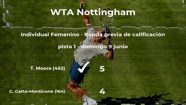 La tenista Tara Moore pasa de ronda del torneo WTA International de Nottingham