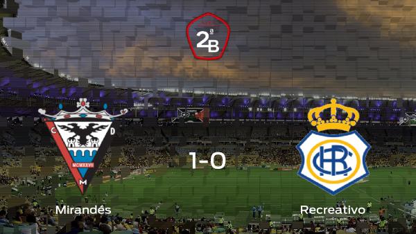 El Mirandés gana 1-0 contra el Recreativo durante la ida de los playoff