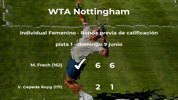 Magdalena Frech logra ganar en la ronda previa de calificación contra la tenista Verónica Cepede Royg