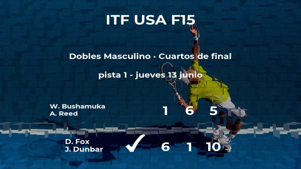 Los tenistas Fox y Dunbar consiguen la plaza de las semifinales a costa de Bushamuka y Reed