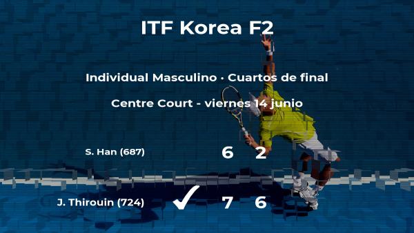 El tenista Jean Thirouin pasa a la siguiente ronda del torneo de Gimcheon tras vencer en los cuartos de final