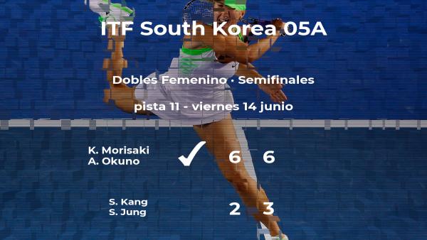 Las tenistas Morisaki y Okuno logran clasificarse para la final a costa de Kang y Jung