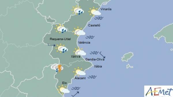 El cap de setmana comença amb cels nuvolosos i arruixades disperses i màximes en ascens a la Comunitat Valenciana