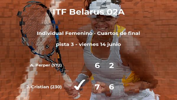 La tenista Jaqueline Adina Cristian consigue el puesto de las semifinales a costa de la tenista Alexandra Perper