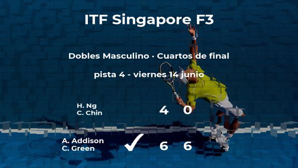 Los tenistas Addison y Green pasan a la siguiente fase del torneo de Singapur tras vencer en los cuartos de final