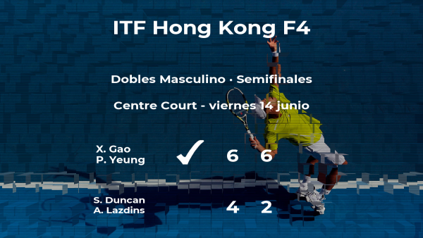 Los tenistas Gao y Yeung pasan a la siguiente fase del torneo de Hong Kong tras vencer en las semifinales