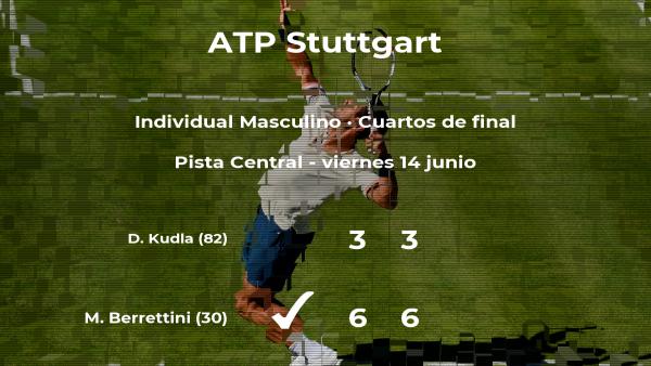 El tenista Matteo Berrettini pasa a la próxima ronda del torneo ATP 250 de Stuttgart tras vencer en los cuartos de final